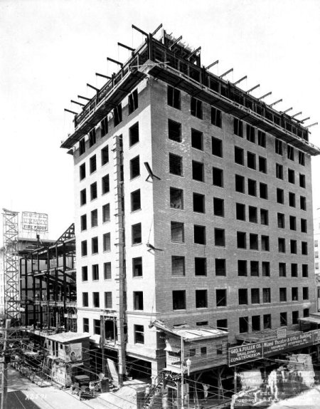 Construction on the Olympia in 1925. It was built as part of a ten-story commerical building, the rest of which housed offices. Image obtained from Scotty Moore.