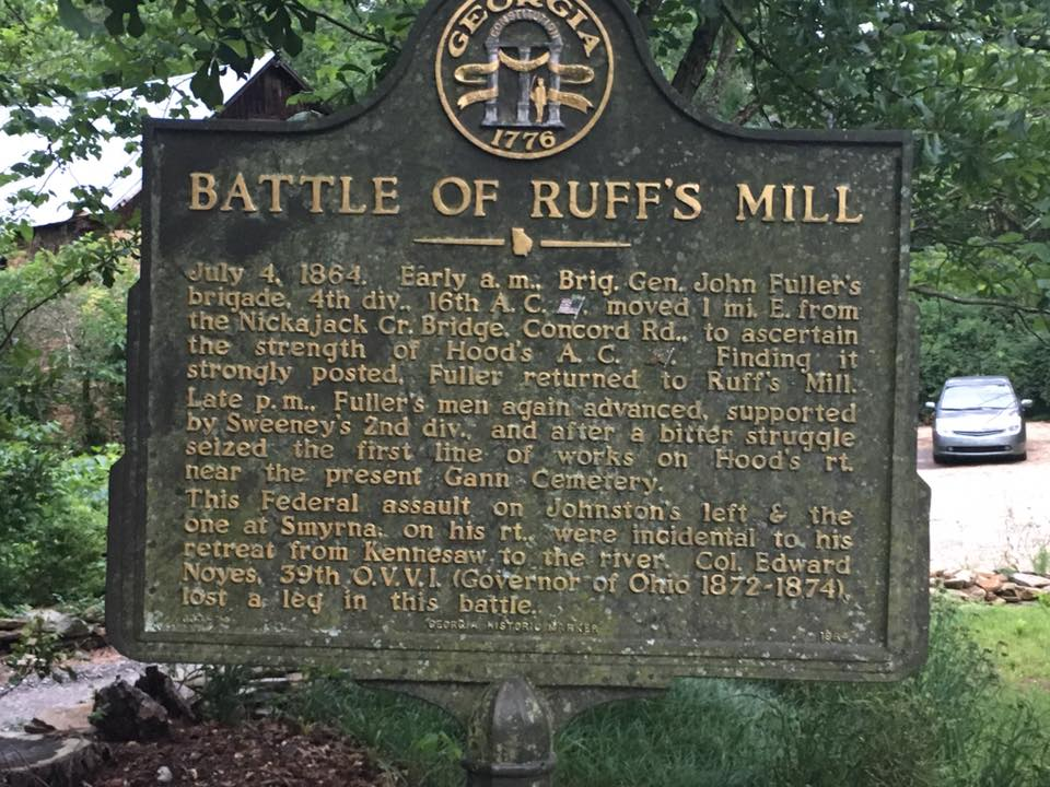 Historical Marker at Ruff's Mill that describes the battle in 1864.