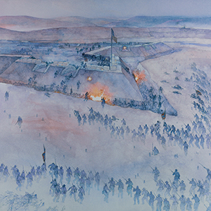 This painting by Greg Harlin depicts the Confederate attack on Fort Sanders