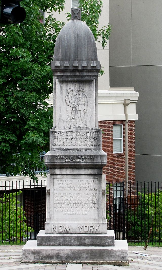 This monument was dedicated to the 79th New York Volunteer Infantry that defended the city at the Battle of Fort Sanders