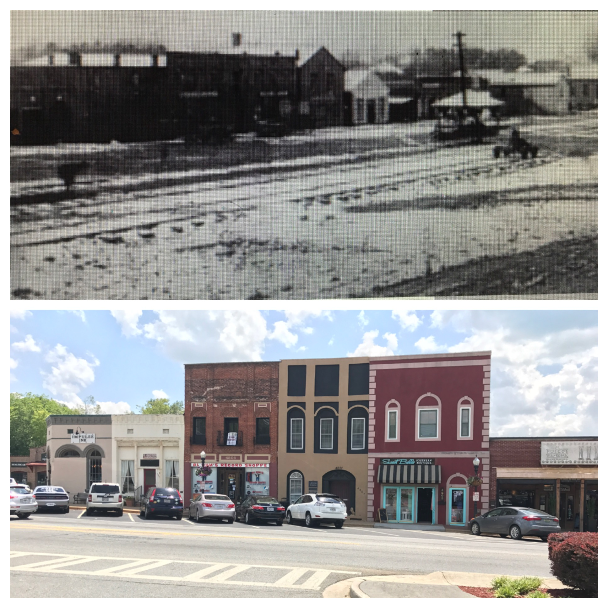 A comparison of an earlier photo taken along historic N. Main Street versus today.