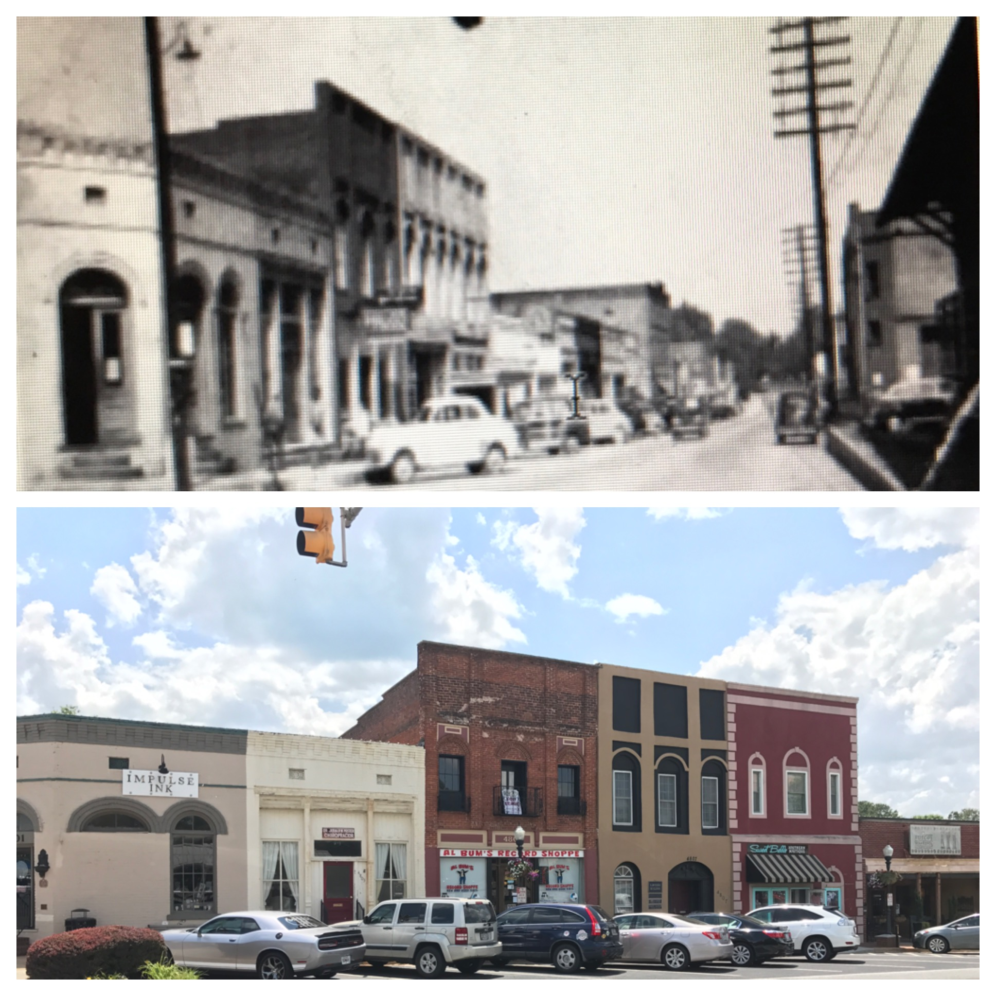 A comparison of an earlier photo taken along N. Main Street versus today.