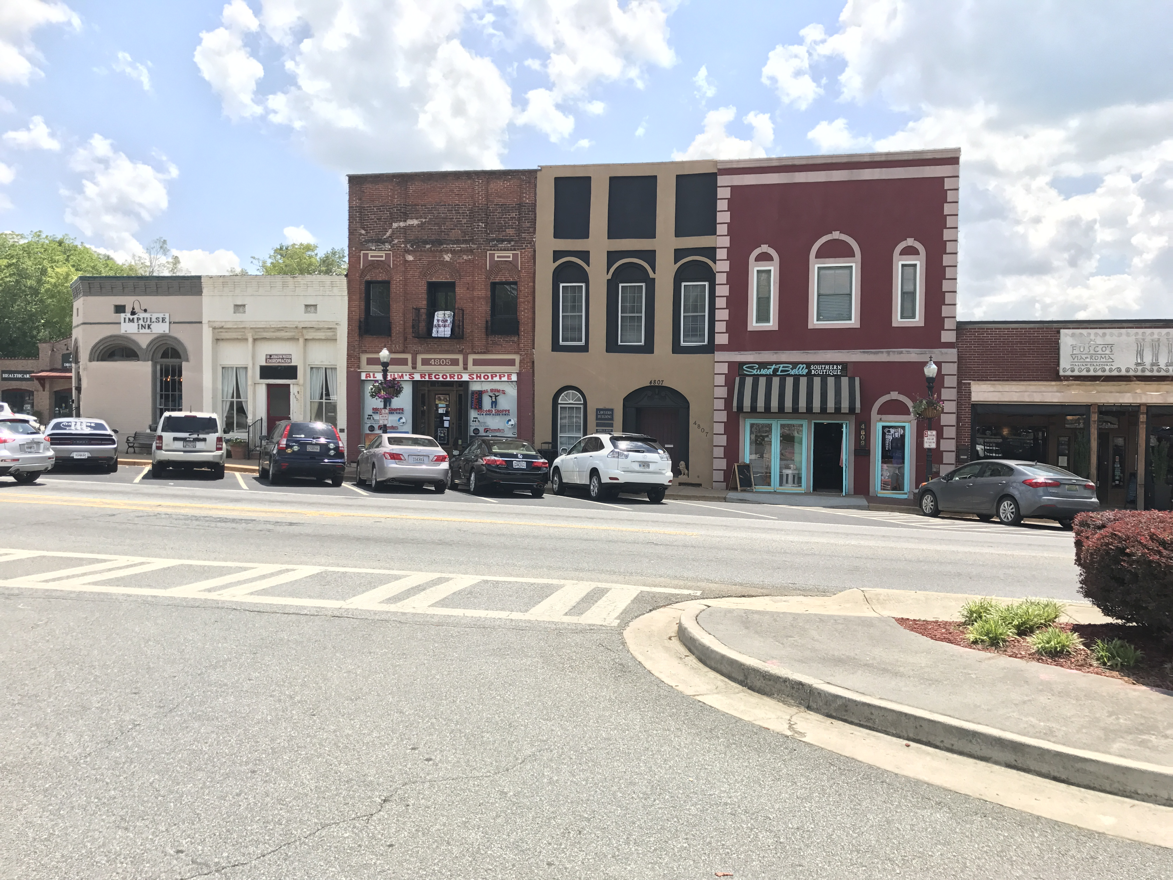 A present day photo of historic buildings along N. Main Street.