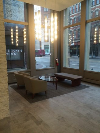 The lobby of the Ewart Building, post-renovation.