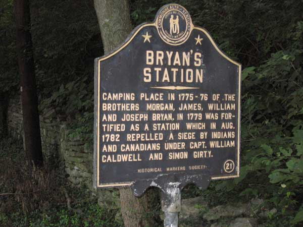 A historical marker about Bryan's Station