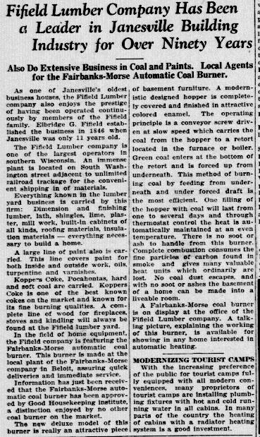 Newspaper Advertisement: Janesville Gazette September 2nd 1936