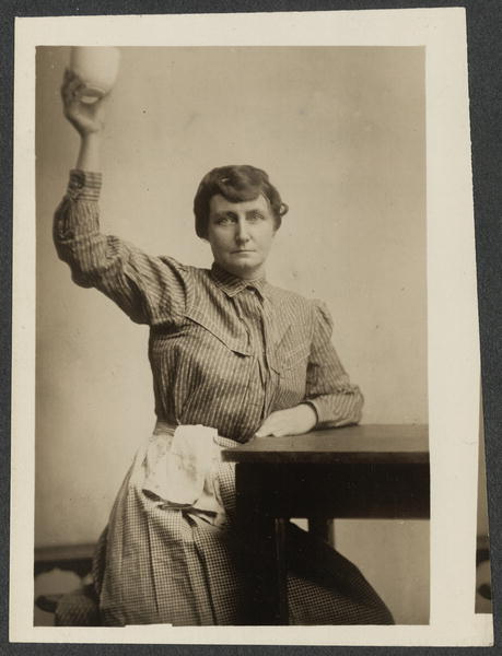 Photograph of Pauline Adams in prison attire after being arrested during 1917 and 1919 suffrage demonstrations and imprisoned at the Occoquan Work House, National Woman's Party Records, Group I, I:147, courtesy of the Library of Congress.
