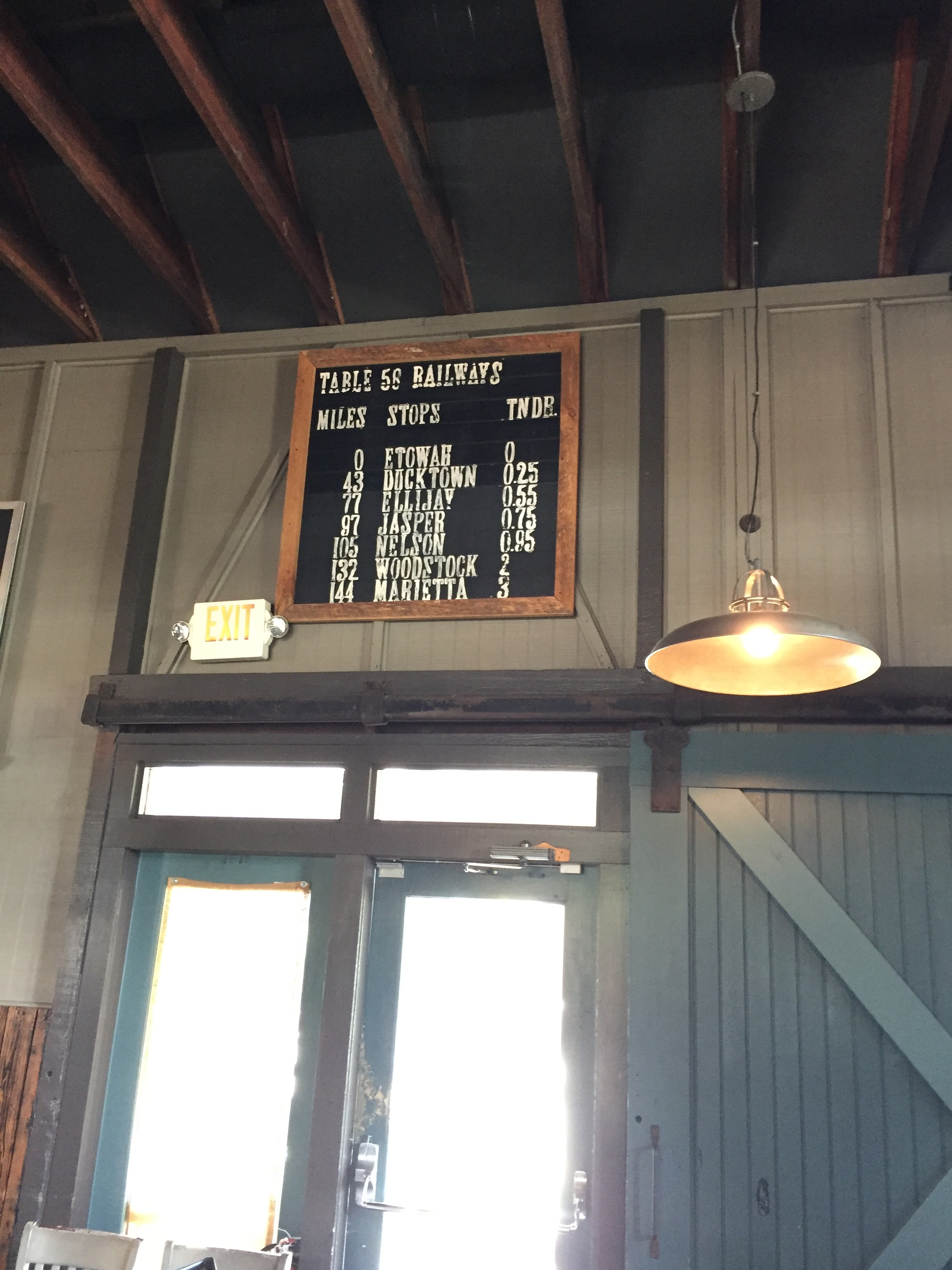 Original sign with actual pricing of rail line tickets for the time.