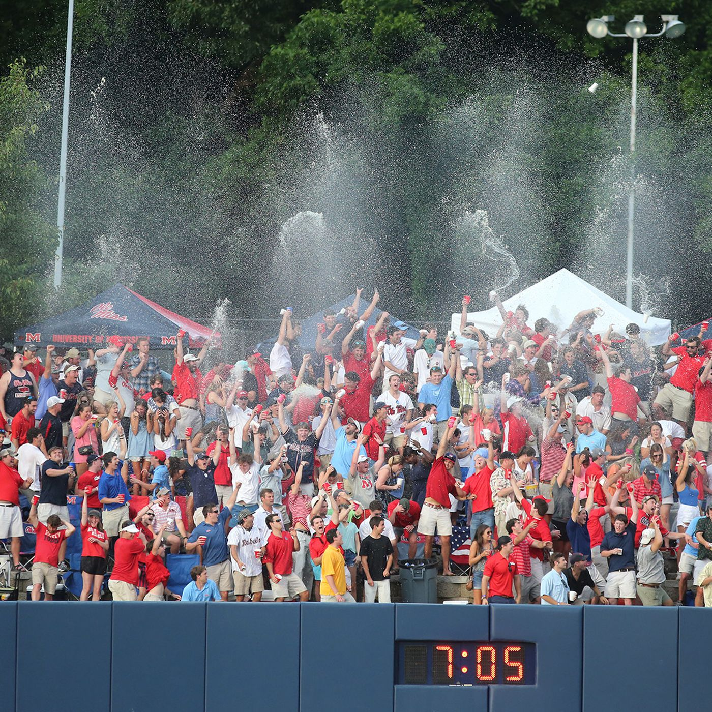The infamous Beer Shower is a tradition at Swayze Field.