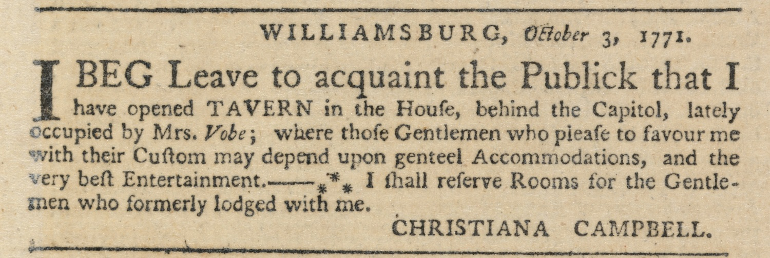 1771 advertisement for Campbell's tavern, Virginia Gazette, Purdie and Dixon, October 3, 1771, image courtesy of the Library of Virginia.