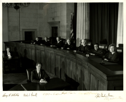 Elizabeth Bermingham Lacy sitting with the Supreme Court of Virginia, photograph courtesy of Elizabeth Lacy.