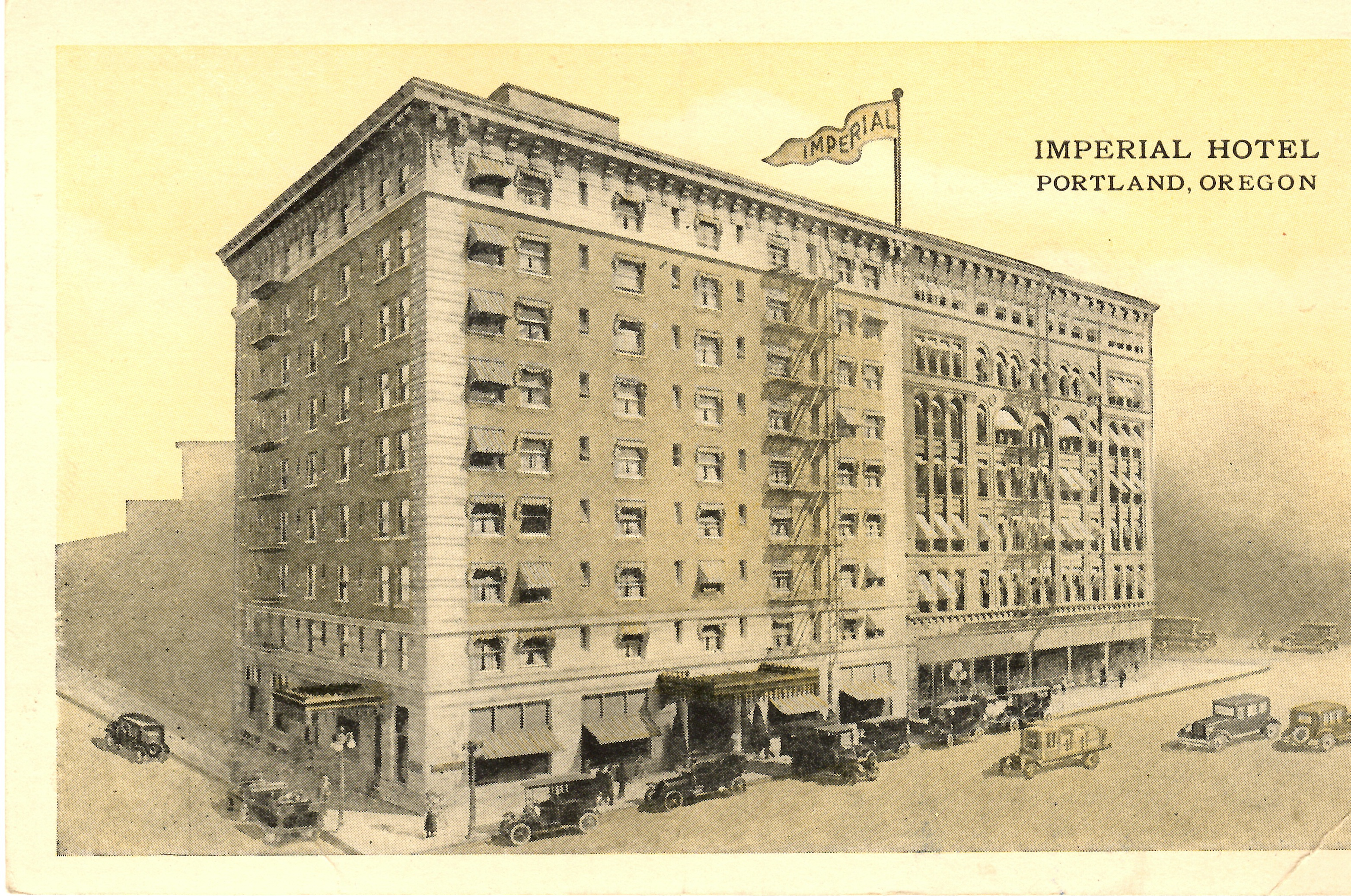 1910 postcard of the newly expanded hotel, with the new building on the left and the original building on the right.