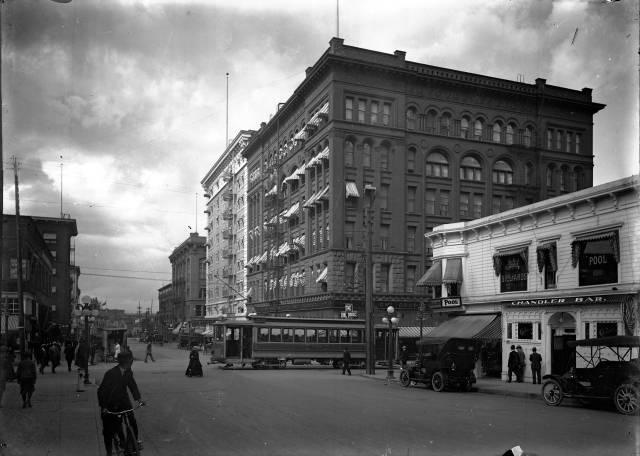 The Imperial Hotel circa 1915, with the newer (1909) building in the background.