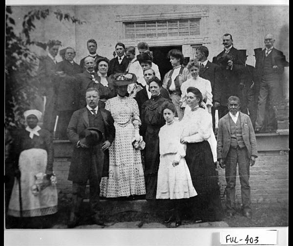 President Theodore Roosevelt and His Wife Edith on the Steps of Bulloch Hall