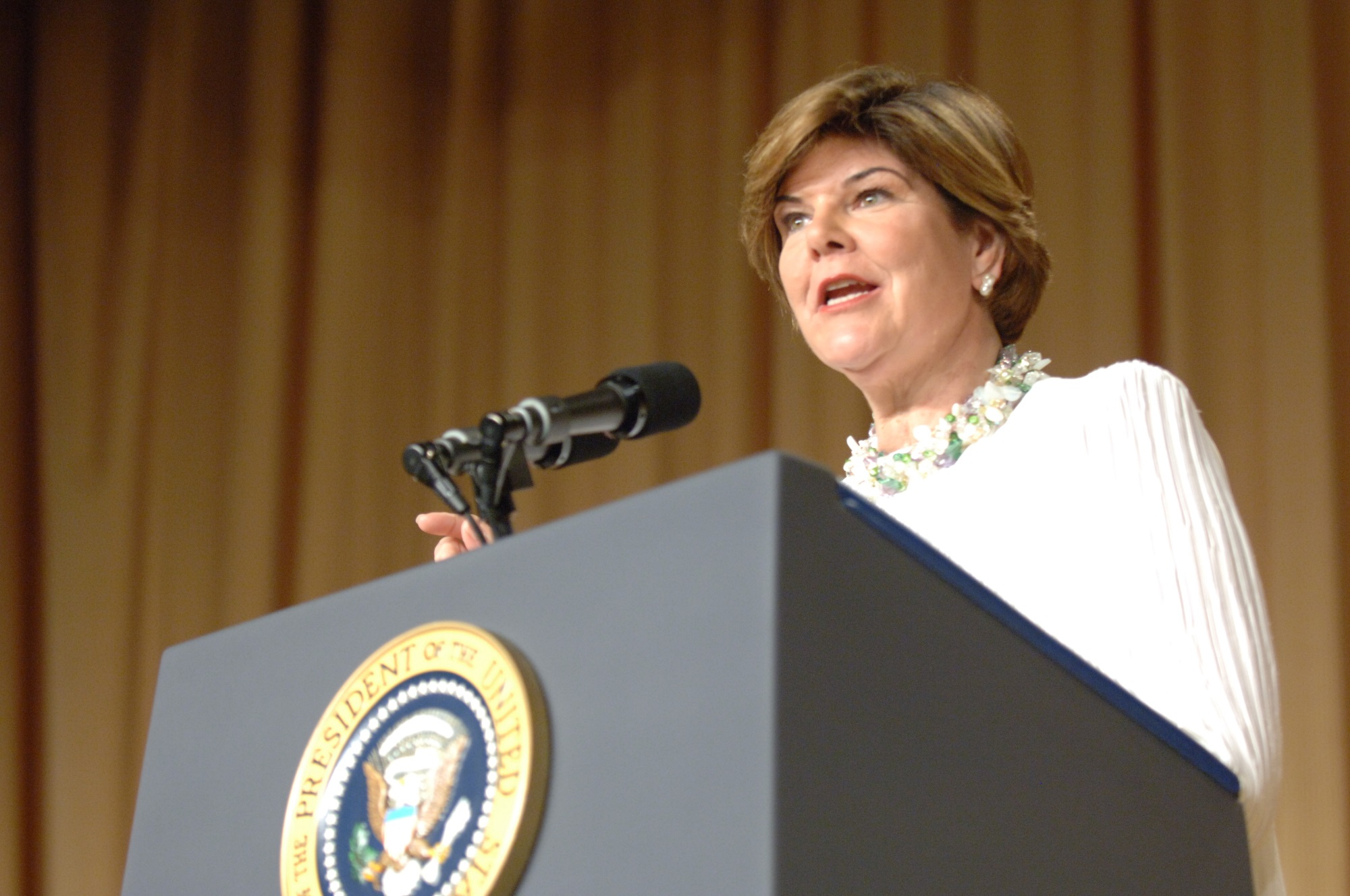 Ann Compton at the presidential podium, 2007, photograph courtesy of ABC News.
