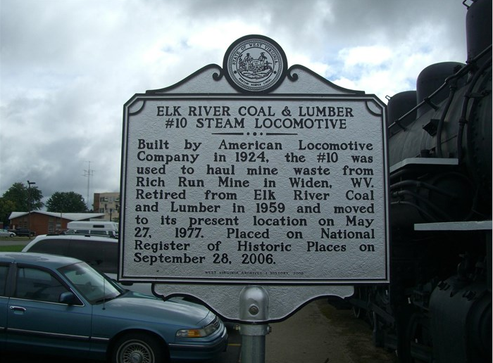 WV Historical Marker for #10 Locomotive