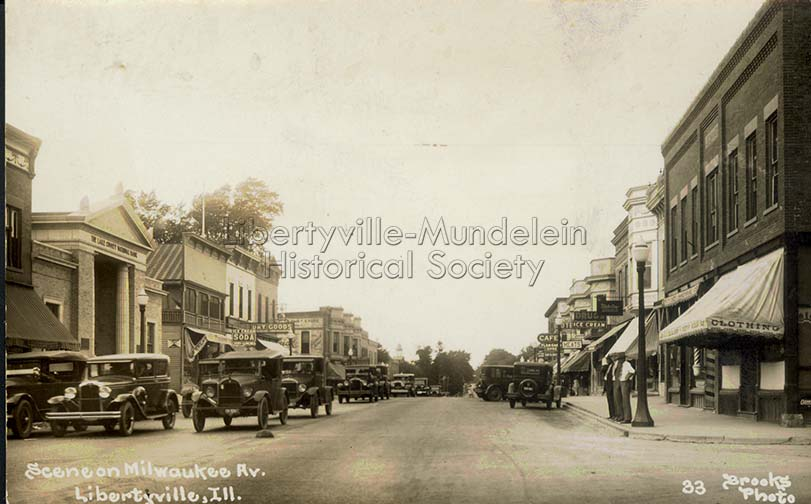 Milwaukee Avenue looking north from Cook Avenue, 1920s