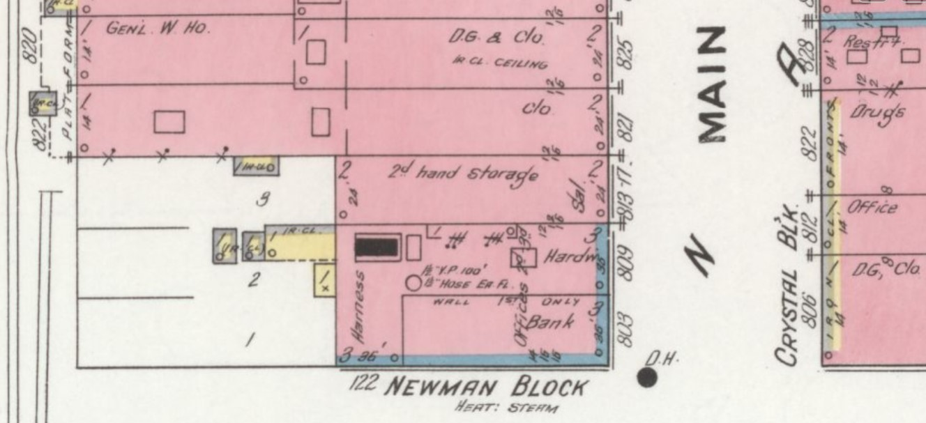 Newman Block on 1910 Sanborn map (blue=stone, red=brick) of Durango (Sanborn Map Company 1910 p. 7)