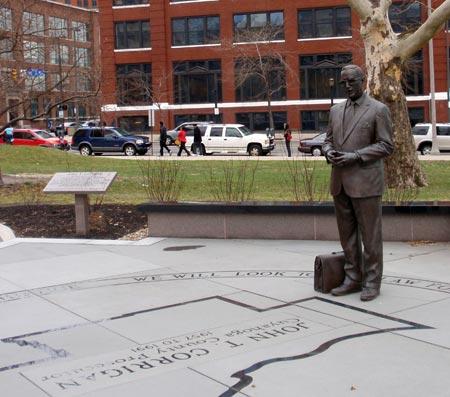 The John T. Corrigan memorial and statue. Photo: Cleveland Seniors