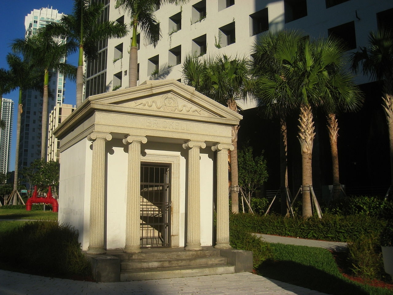 The Brickell Family Mausoleum, now empty, is the sole surviving structure from the Brickell Family. Image obtained from the Historical Marker Database.