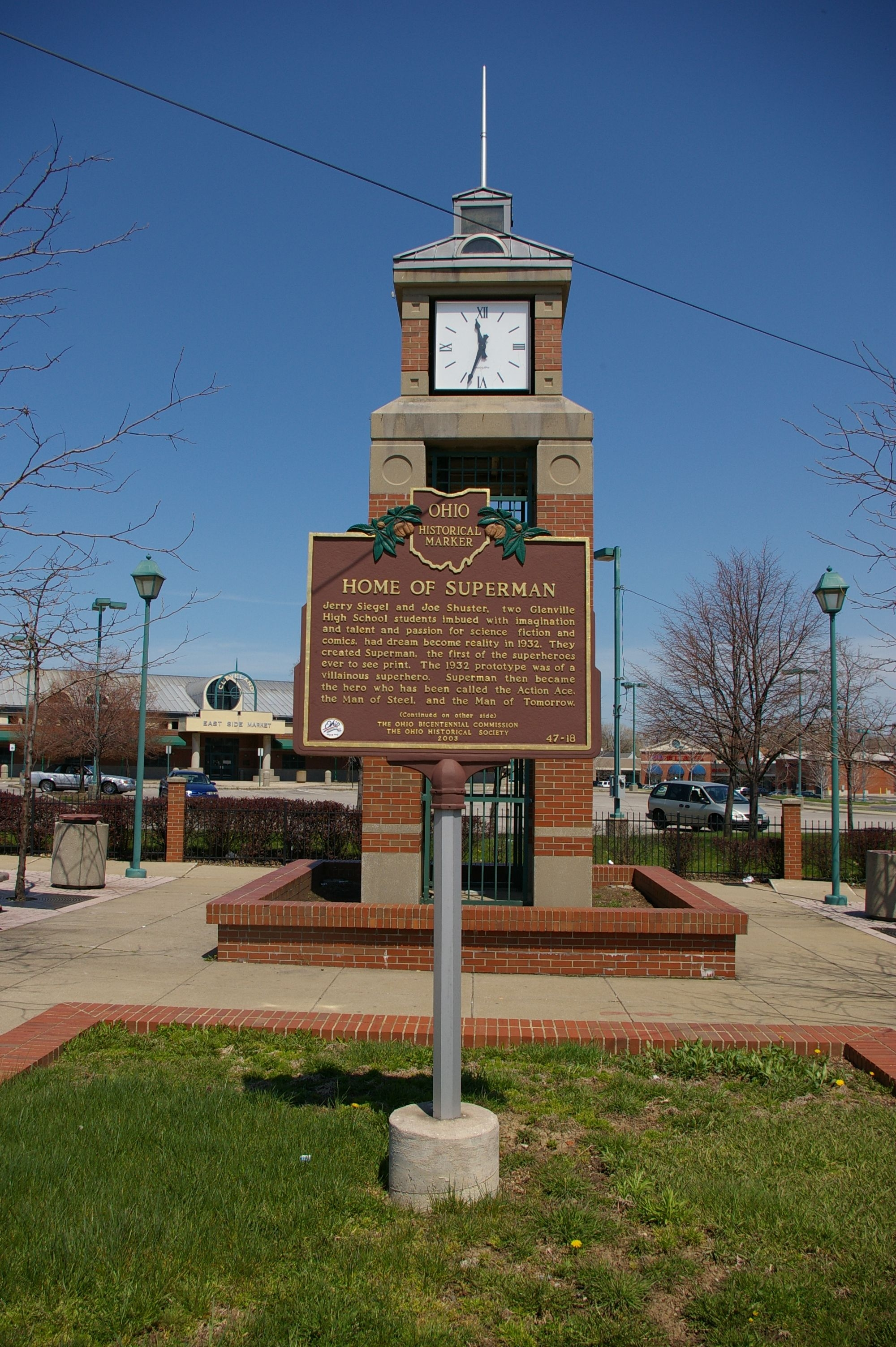The marker is in front of a clocktower.