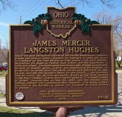 The marker is located outside of the Langston Hughes branch of the city's public library system.