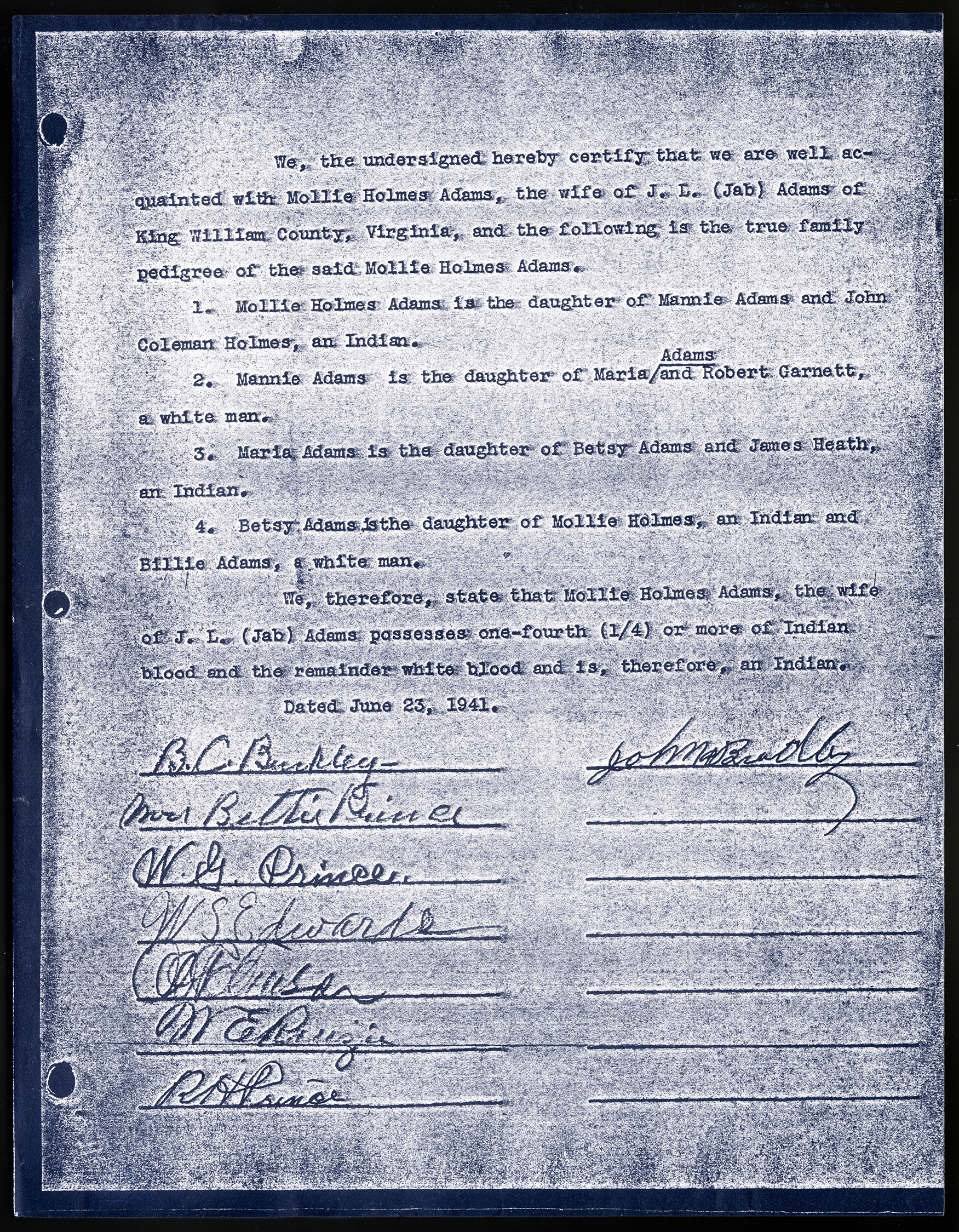 A document signed by eight people certifying that Mollie Holmes Adams was an Indian, in the James R. Coates Papers, 1833-1947, Accession 31577, Library of Virginia.