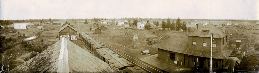 Panorama of Tyler in the early 1900s taken from the top of the water tank across from the Tyler station. The business district is along the old State highway, now a gravel road, a block south of SR904.