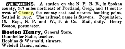 The 1884 Polk Gazetteer listing for Stevens, Washington Territory.