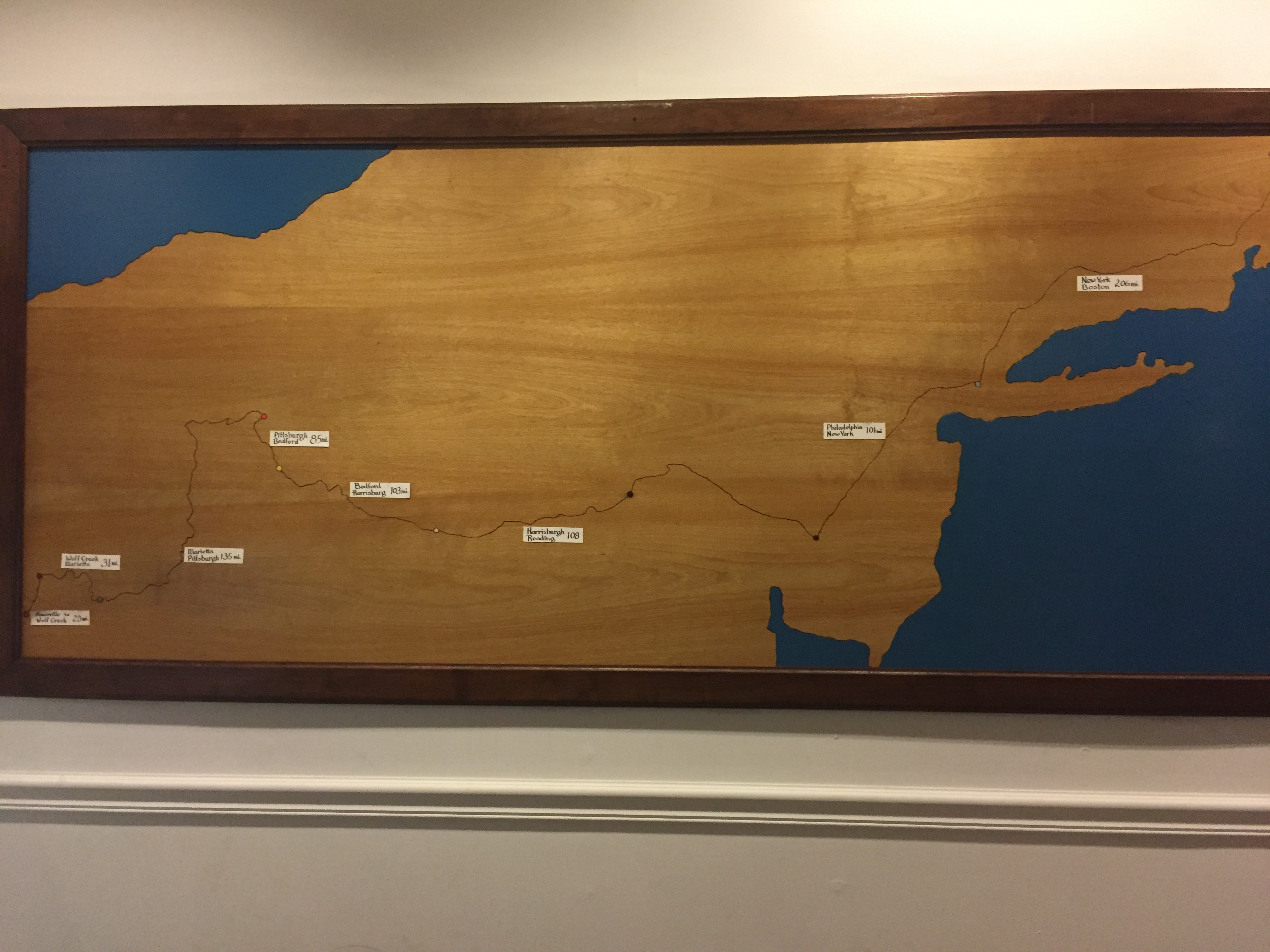 Located inside the museum, this is the route that Samuel Brown took to sell the pelts and buy library books in Boston. Photo by J Hazen on June 14, 2017.
