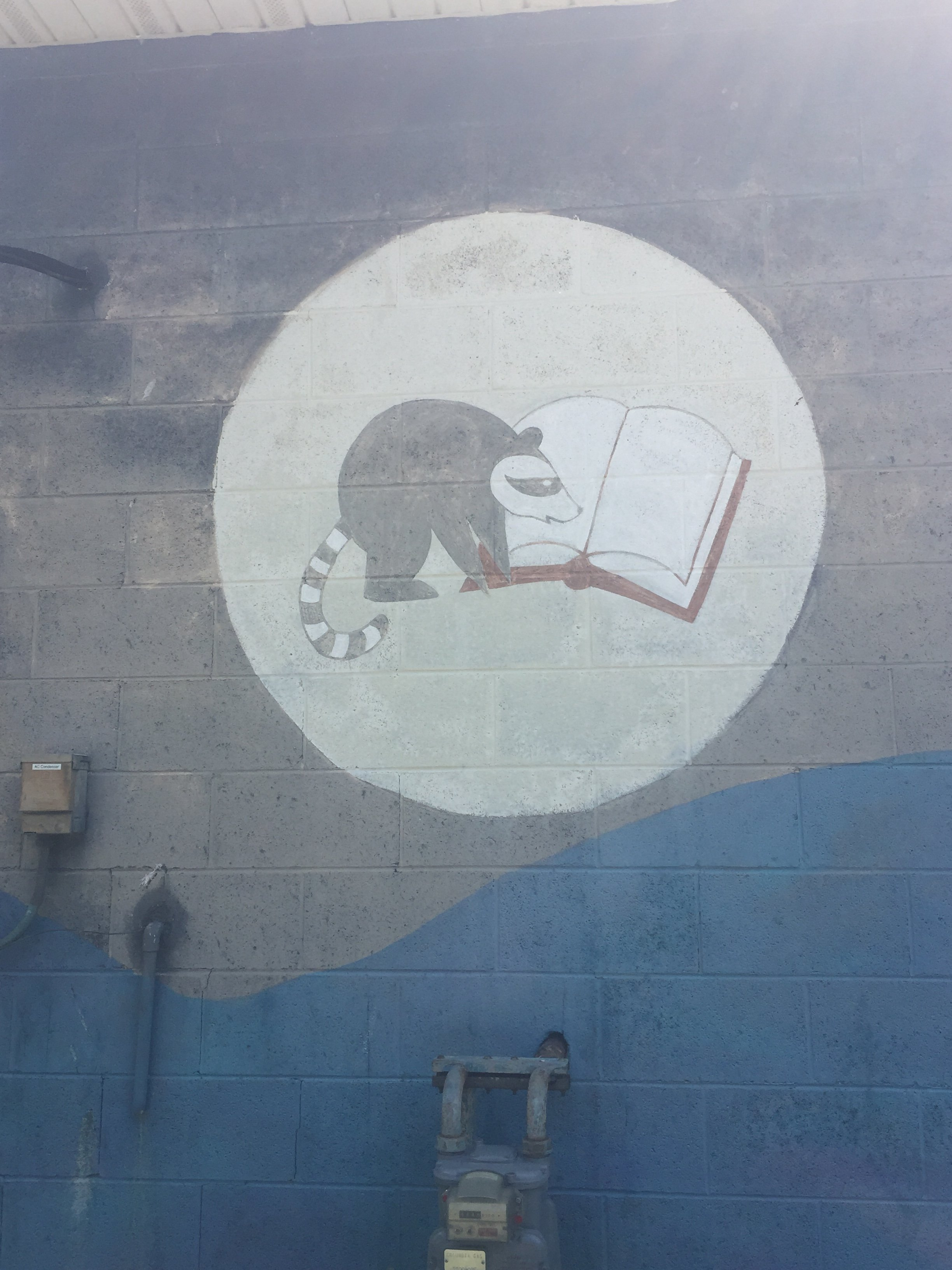 Along with the blurb above, the post office exterior also hosts a raccoon reading a book! Photo by J Hazen on June 12, 2017.