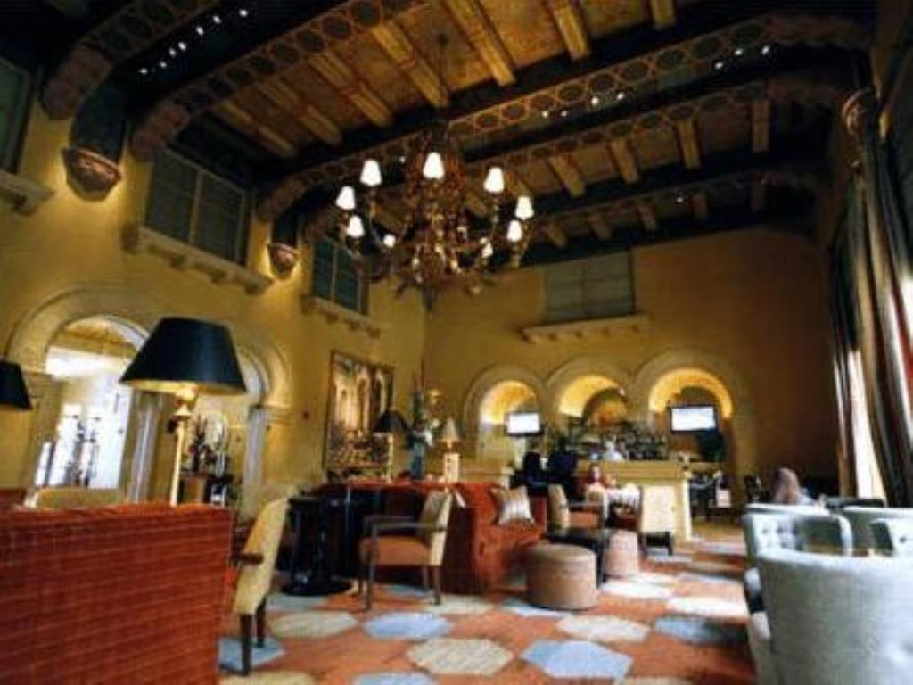 The Hotel De Anza's refurbished Spanish colonial lobby.