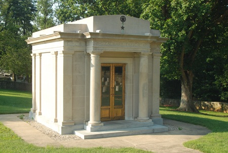 A mausoleum houses the remains of Zachary Taylor and his wife at Zachary Taylor National Cemetery.