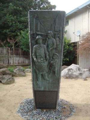 This monument is located outside the Issei Memorial Building and pays tribute to the historic neighborhoods in San Francisco, San Jose, and Los Angeles.