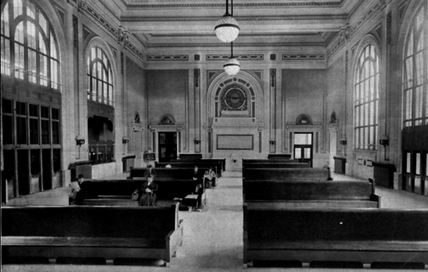 A black and white shot of the inside of the station.