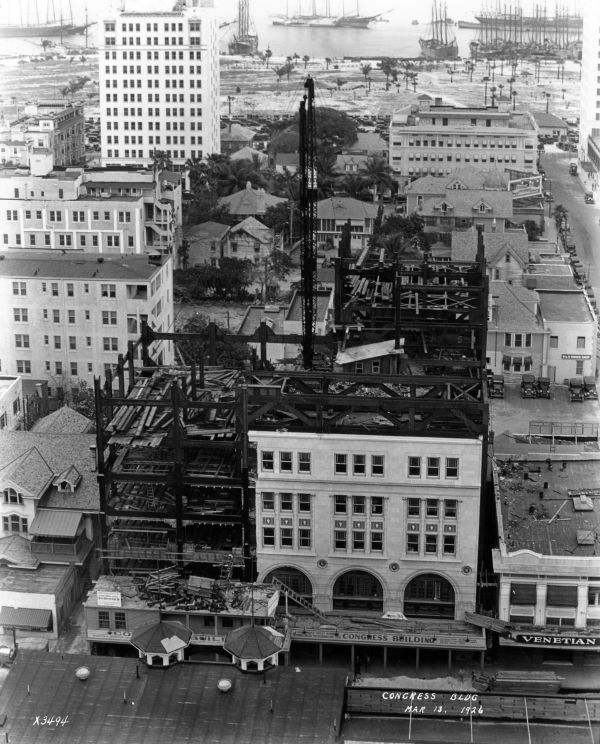 The Congress Building under construction in 1923. It was originally only five stories tall because Miami regulations banned any buildings more than ten stories tall. Image obtained from Pinterest.