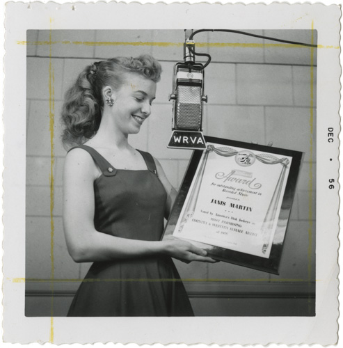 Photograph of Janis Martin, WRVA Radio Collection, Accession 38210, courtesy of the Library of Virginia.