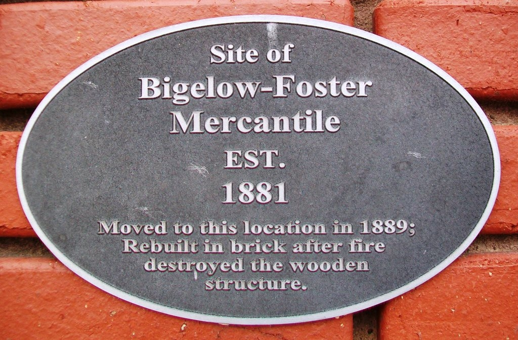 Historical marker on the site of the mercantile