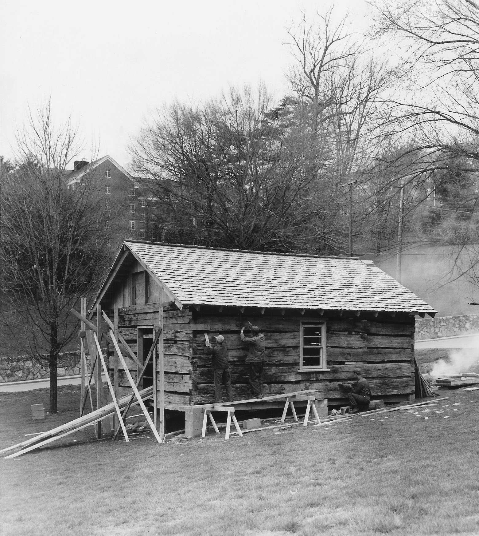 Reconstruction of the Heritage Cabin in 1972.