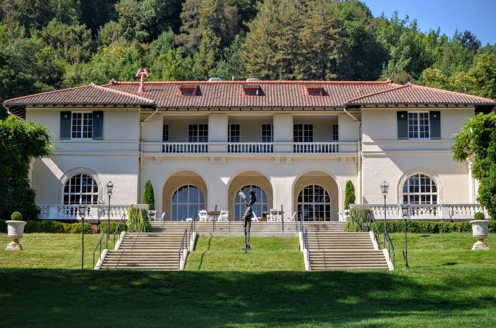 The Mediterranean Revival Villa Montalvo was completed in 1914, features 19 rooms and displays pieces of art from the center's artists in residence.