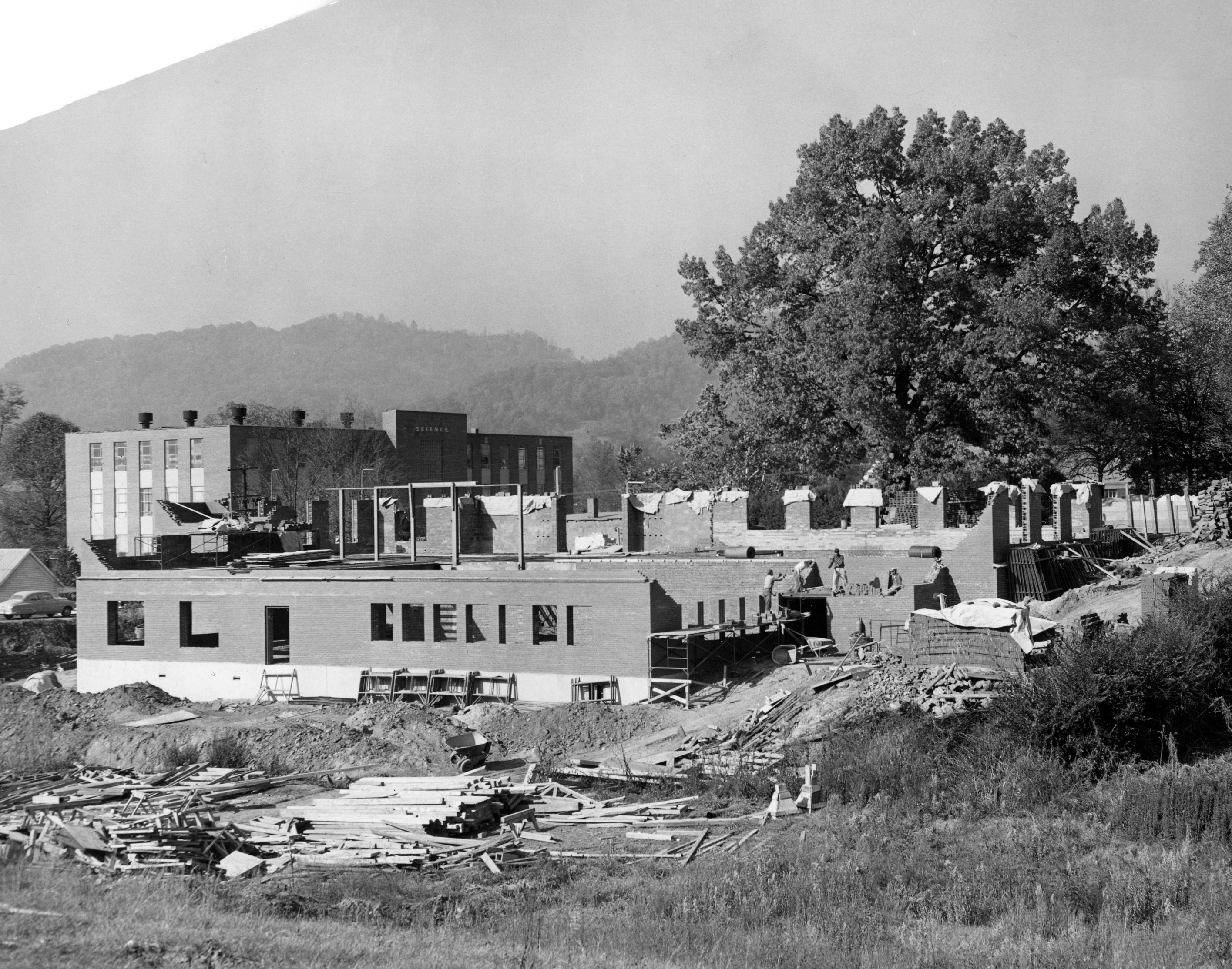 Construction of the Brenda G. Nash Education Hall (Formerly the Memorial Library)