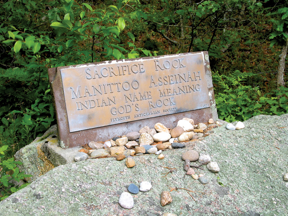 Plaque on top of Sacrifice Rock (Courtesy of The Pinehills)