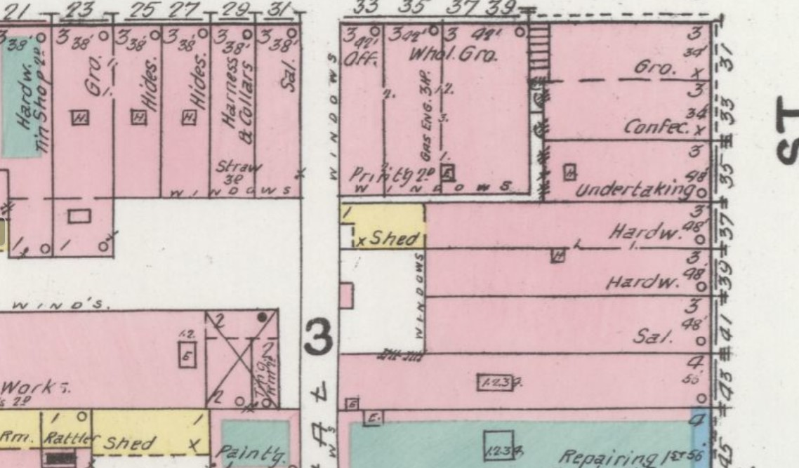 Spring, Emerson & Co. building vacant on 1892 Sanborn map (43 Third St., Sanborn Map Company p. 3)