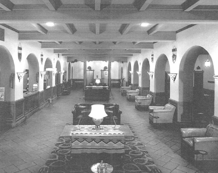 Registration and lobby area of hotel, circa 1940s-1950s