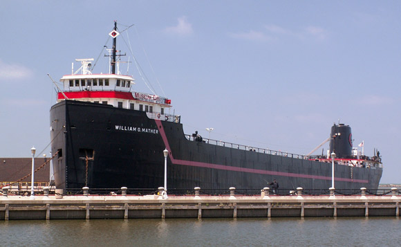 Steamship William G. Mather was built in 1925 and sailed the Great Lakes for 55 years.