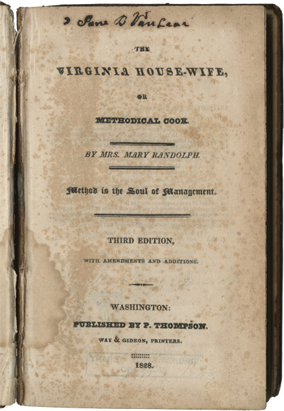 Cover of the third edition of Randolph's The Virginia House-Wife, courtesy of the Library of Virginia.