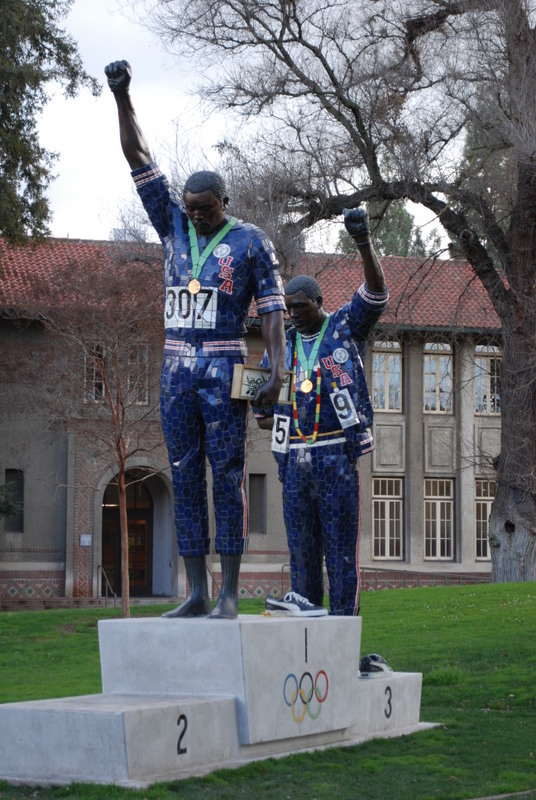 The Black Power Statue at San Jose State depicts John Carlos and Tommie Smith on the medal stand at the 1968 Olympics.