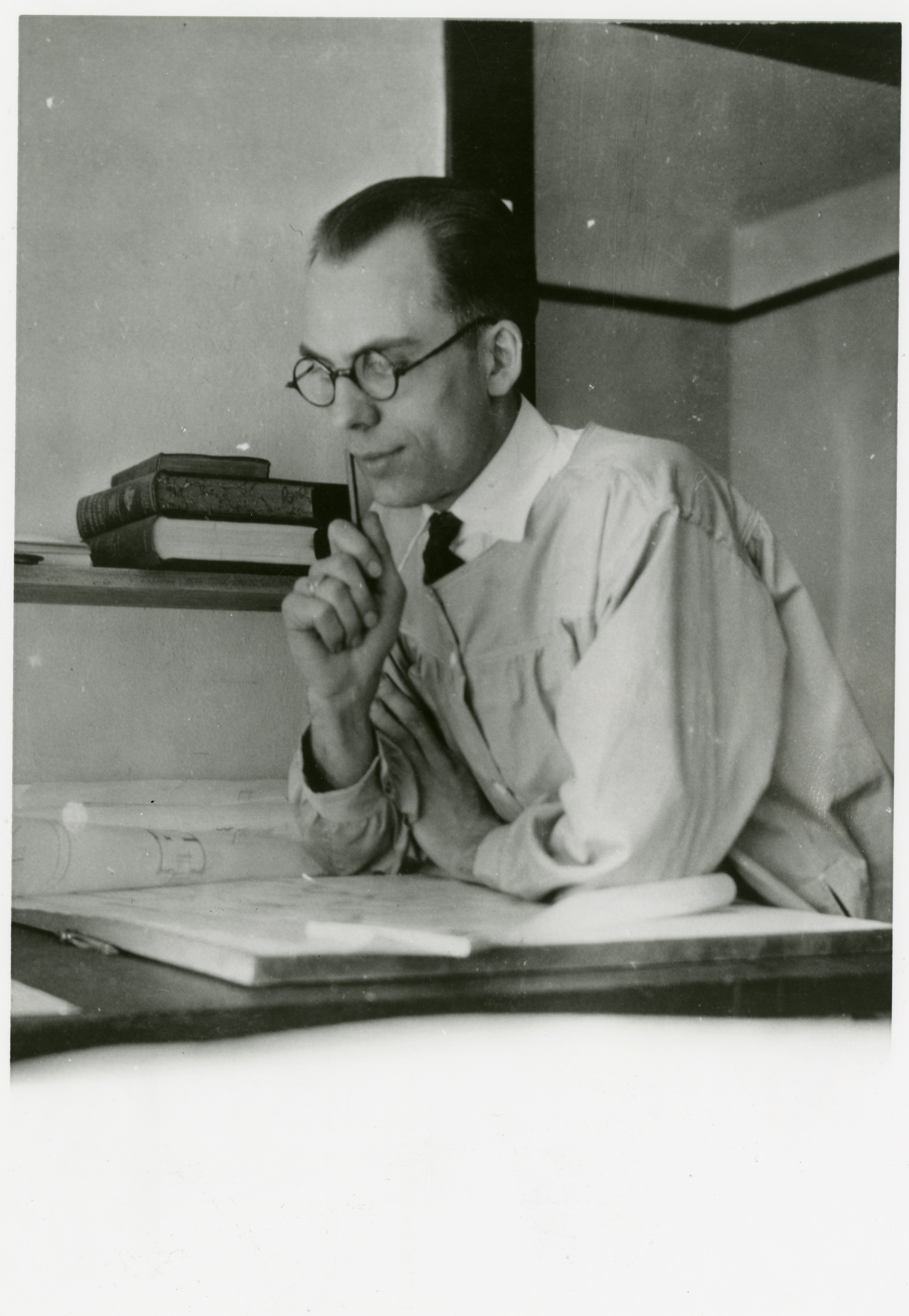 This is a picture of H. E. Kirkemo, one of the architects who designed the Wilma. He and his wife, Lillian, lived in an apartment in the Wilma during their first year of marriage. (Photo undated)
