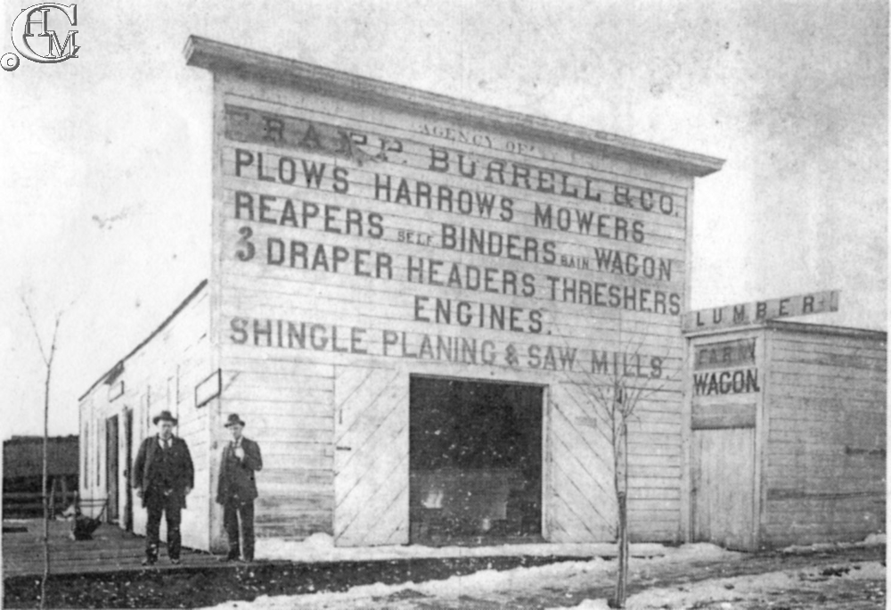 Charles A. Ratcliffe, at right, became proprietor of a farm implement company in 1884.