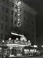 Night photo of neon sign, circa 1930s-1940s. Courtesy of the Albuquerque Museum